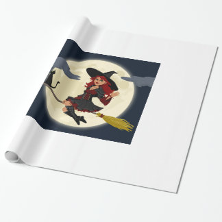 Glossy Witch Happy Halloween Wrapping Paper. Wrapping Paper