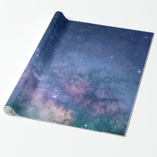 Glossy Wrapping Paper,LIGHTS IN NIGHT SKY W/ STARS Wrapping Paper