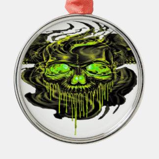 Glossy Yella Skeletons PNG Metal Ornament
