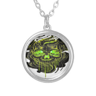 Glossy Yella Skeletons PNG Silver Plated Necklace