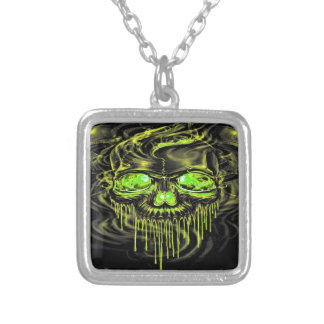 Glossy Yella Skeletons Silver Plated Necklace
