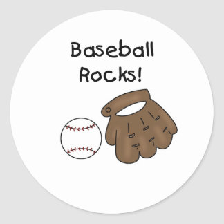 Glove and  Ball Baseball Rocks Round Sticker