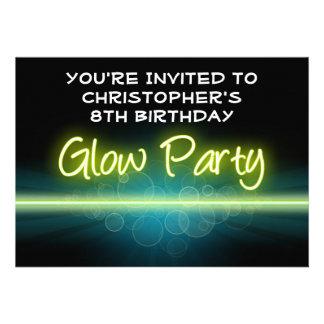 Glow Birthday Party Blue Yellow Blacklight Custom Invites