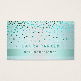 Glow Glitter Blue Confetti Linen Elegant Business Card