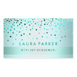 Glow Glitter Blue Confetti Linen Elegant Pack Of Standard Business Cards