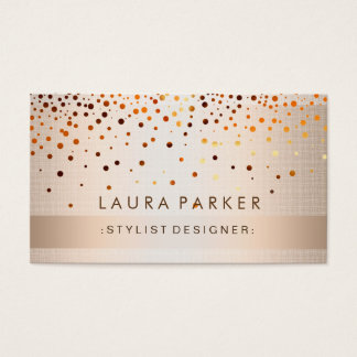 Glow Glitter Gold Confetti Linen Elegant Business Card