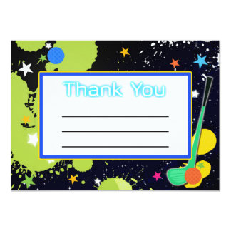 "Glow Golf Birthday Party THANK YOU card 4.5"" X 6.25"" Invitation Card"