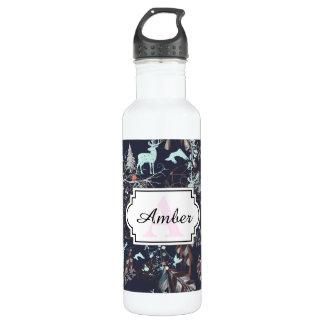 Glow in dark nature boho tribal pattern 710 ml water bottle