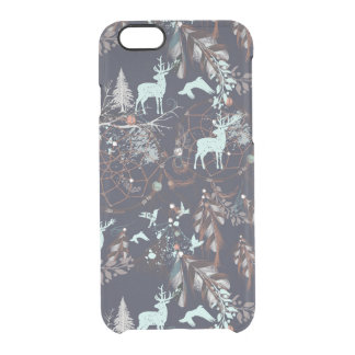 Glow in dark nature boho tribal pattern clear iPhone 6/6S case