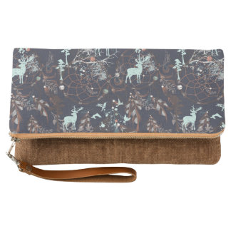 Glow in dark nature boho tribal pattern clutch