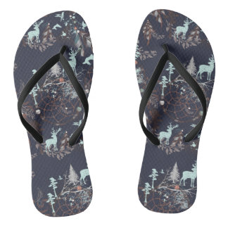 Glow in dark nature boho tribal pattern flip flops