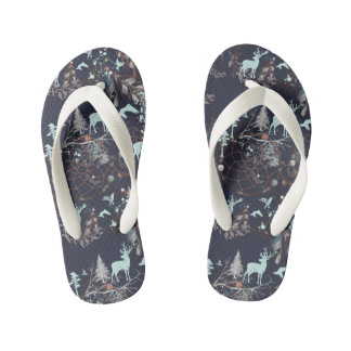 Glow in dark nature boho tribal pattern kid's flip flops