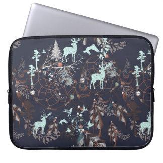 Glow in dark nature boho tribal pattern laptop sleeve