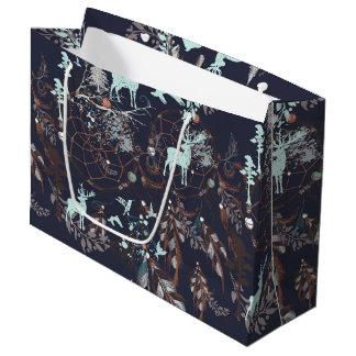 Glow in dark nature boho tribal pattern large gift bag