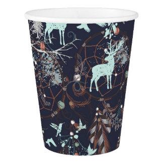 Glow in dark nature boho tribal pattern paper cup