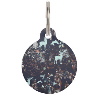 Glow in dark nature boho tribal pattern pet ID tag