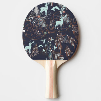 Glow in dark nature boho tribal pattern ping pong paddle