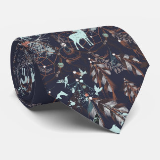 Glow in dark nature boho tribal pattern tie