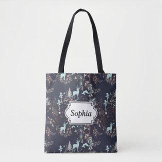 Glow in dark nature boho tribal pattern tote bag
