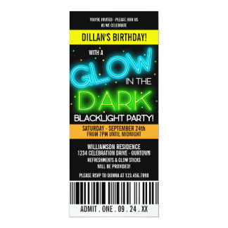 Glow in the Dark Birthday Party Card