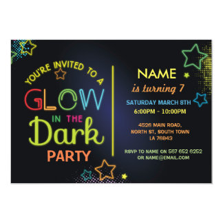 Glow in the Dark Birthday Party Invite Kids Party