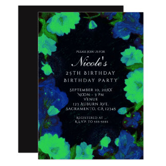 Glow in the Dark Glowing Flowers Party Invitations