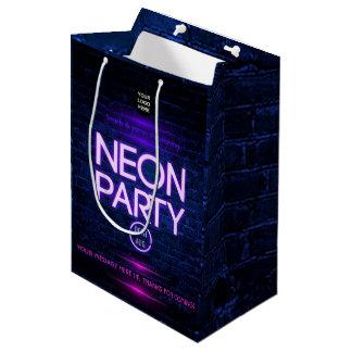 Glow in the Dark Neon Corporate party invitation Medium Gift Bag