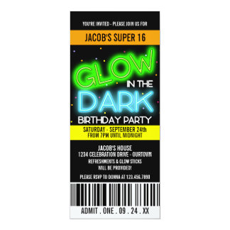 Glow in the Dark Super 16 Party Card