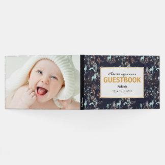 Glow in the dark tribal boho pattern guest book