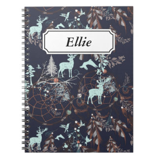 Glow in the dark tribal boho pattern spiral notebook