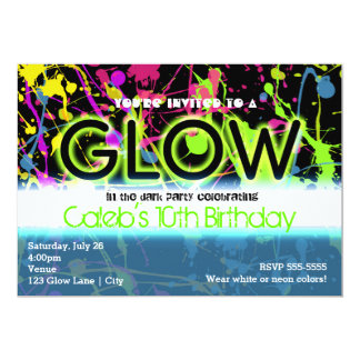 Glow neon paint splatter birthday party invitation custom invitations