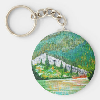 glow of the lake # 9 basic round button keychain