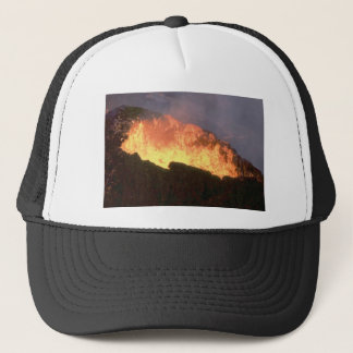 glow of volcanic fire trucker hat