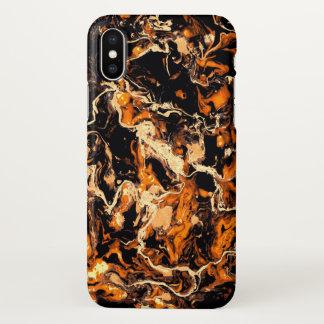 Glow orange and black  Marble Burn like fire iPhone X Case