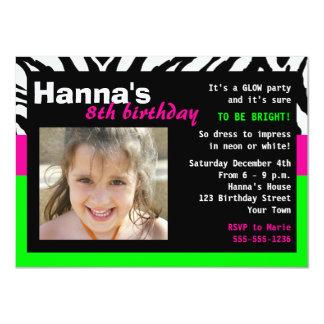 Glow Party Birthday Invitation Zebra Pink Green