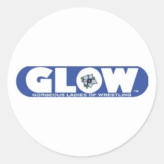 GLOW Pin Blue Logo Classic Round Sticker