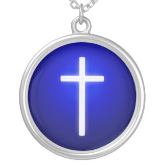 Glow White Cross Silver Plated Necklace