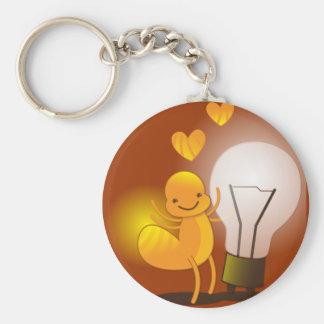 Glow Worm! with a light globe super cute! Basic Round Button Keychain