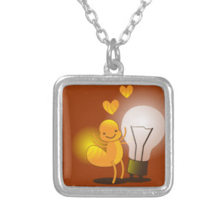 Glow Worm! with a light globe super cute! Silver Plated Necklace