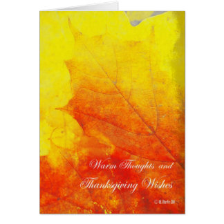 Glowing Abstract Leaf Thanksgiving Card