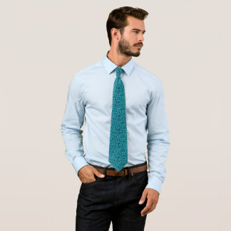 Glowing Aquamarine Scattered Sequins Tie