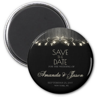 Glowing black & white save the date magnet hhn02