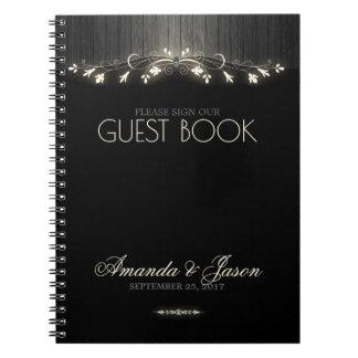 Glowing black & white wedding guest book hhn02