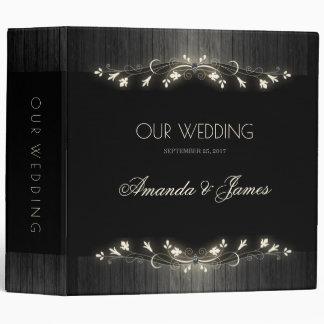 Glowing black & white wedding planner hhn02 3 ring binder
