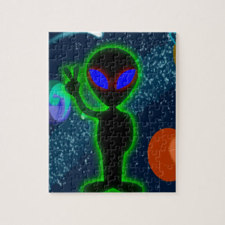 Glowing Blue Eyes Peace Space Alien Jigsaw Puzzle