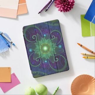 Glowing Blue-Green Fractal Lotus Lily Pad Pond iPad Pro Cover