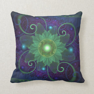 Glowing Blue-Green Fractal Lotus Lily Pad Pond Throw Pillow