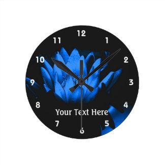 Glowing Blue Lotus Water Lily Flower Art Wall Clocks
