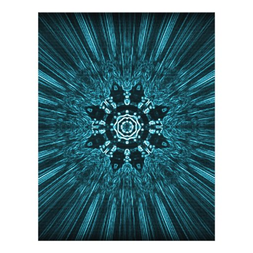 Glowing Blue Winter Snowflake Custom Letterhead