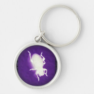 glowing bug with purple and black Silver-Colored round keychain
